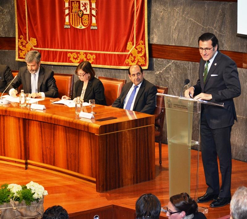 El magistrado Miguel Pasqual del Riquelme durante su intervención.